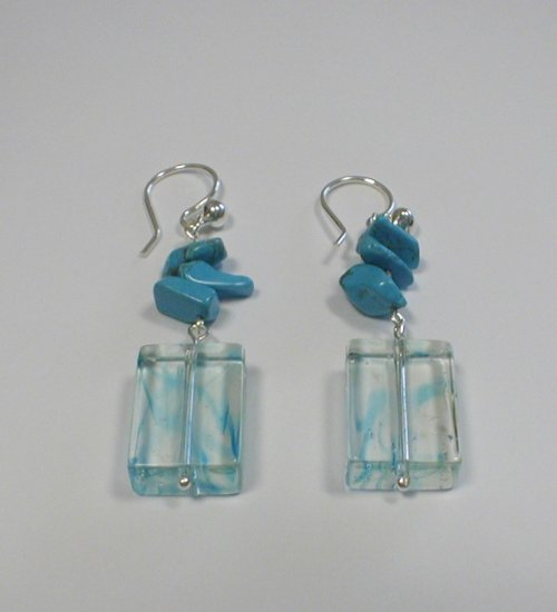 murano and turquoise stone earrings - aretes de murano y piedra turquesa