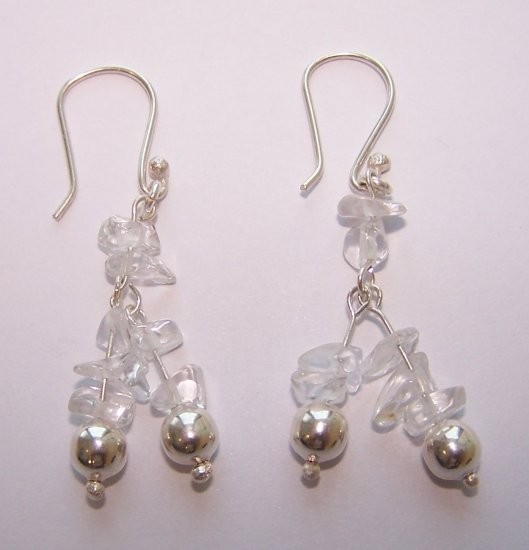 crystal quartz earrings - aretes de cuarzo cristal