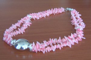 pink coral necklace - collar de coral rosado