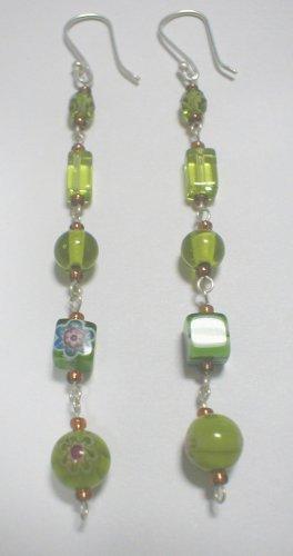 aretes murano hindu verdes