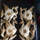 Vintage cast resin wall pockets set of ivory + gold fish 1950s