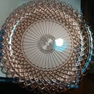 Vintage 1940s Anchor Hocking Waterford Waffle pattern sandwich plate pink depression glass