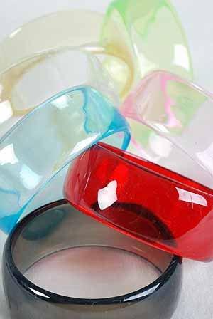 """Bangle Transparent 3"""" Wide 7 Color Asst/DZ 3""""x1"""" Wide,7 Color Asst"""