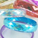 Bracelet Bangle Acrylic With Glitters 3'' Wide/DZ 6 Color Asst,Dialmond Cut