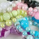 Bracelet Lucite W Pearls Mix, Stretch/DZ ** New Arrival** 6Color Asst