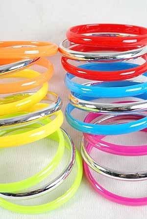 3pcs Bangles Acrylic W Silver Mix/DZ 6 Color Asst