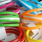 3pcs Bangles Acrylic With Strips/DZ 8 Color Asst