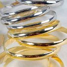 3pcs Bangles Metal Shinely 3'' Wide/DZ Choose Gold Or Silver Finish