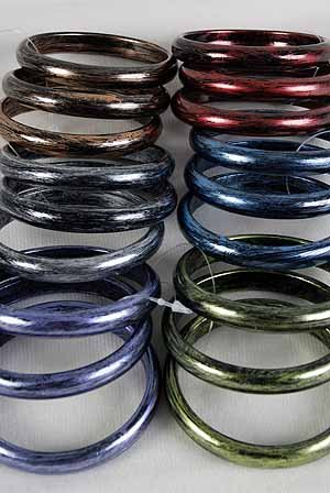 3pcs Bangles mett With Brush Finish 3'' Wide/DZ 6 Color Asst