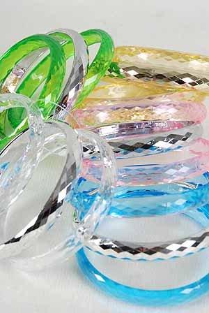 3pcs Bangles Trancesparent color Asst 3'' Wide/DZ 6 Color Asst