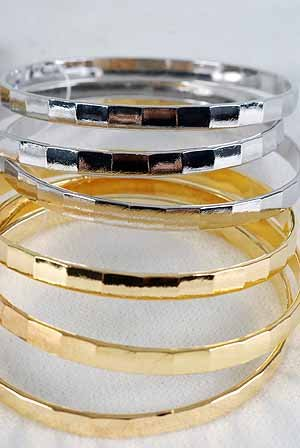 Bangles 3pcs Bamboo Style Look,3'' Wide/DZ Choose Gold Or Silver Finish