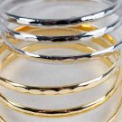 Bangles 3pcs Metal Hammered Finish 3'' Wide/DZ Choose Gold Or Silver Finish