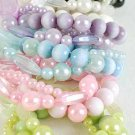 Braceles 3string Tiedye Lucite Ball & Pearls, Stretch/DZ 6 Color Asst