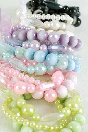Braceles 3string Tiedye Lucite Ball & Pearls, Stretch/DZ 6 Color Asst
