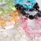 Bracelet & Earring Set 2 String Crystal& Pearl Mix/ ** New Arrival** 6Color Asst,Stretch