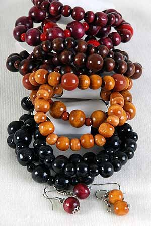 Bracelet & Earring Set 3 String Wooden Beads/DZ **NEW** Natural Color Sellection