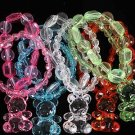 Bracelet & Earring Set Large Crystal Bear W Beads/D ** New Arrival** Changleable,Stretch,Color Asst