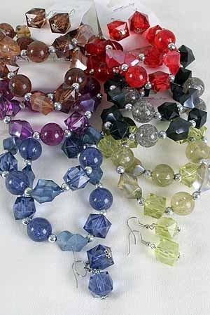 Bracelet & Earring Set Large Crystal blocks E CC Be ** New Arrival** Stretch,6 Color Asst -