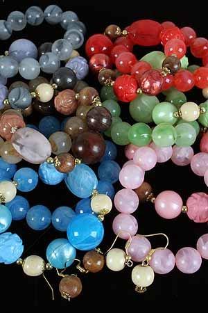 Bracelet & Earring Set Large Lucite W Wooden Beads/DZ ** New Arrival** Color Asst,Stretch