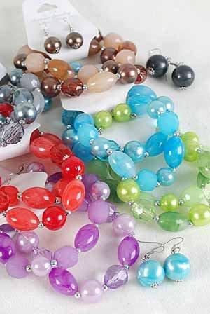 Bracelet & Earring Set Lucite Marble W Pearls/DZ 6Color Asst,Stretch