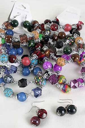 Bracelet & Earring Set Poly W Crystals Stretch/DZ ** New Arrival** Stretch
