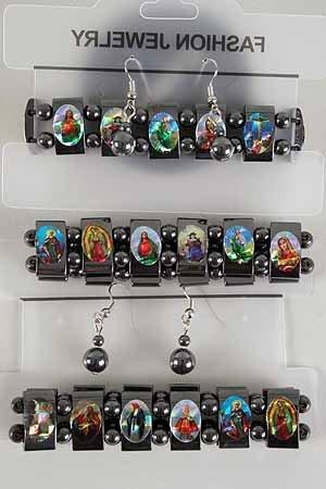 Bracelet & Earring Set Religious Hemetite W Magnet **HOT** Hemetite With Magnet