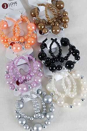 Bracelet & Earring Set,Pear W Cc Beads Stretch/DZ 6 Color Asst