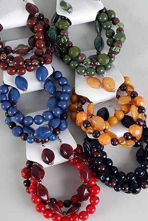 Bracelet & Earring Set,Wooden Bead W Acrylic Marble Mix/DZ **NEW** Fall Selection,6 Color Asst
