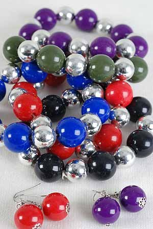 Bracelet & Earring Sets 18mm Ball & Silver Ball Mix/dz 6 Color Asst,Stretch