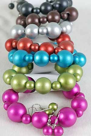 Bracelet & earring Sets 18mm Ball WMett Finish/DZ 6 Color Asst
