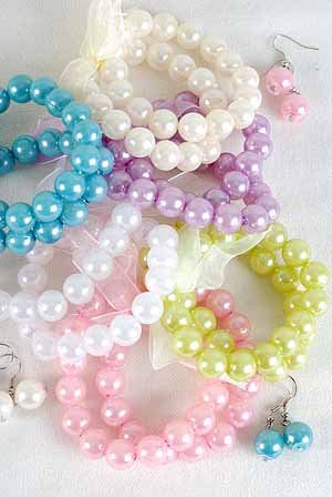 Bracelet & Earring Sets 2 string 12mm Pearls/DZ 6Color Asst,Stretch With Ribbons