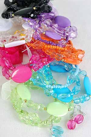 Bracelet & Earring Sets 2 string Large Acrylic Block,Stretch/DZ 7 Color Asst With Ribbons,Stretch