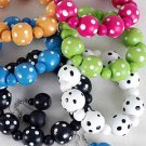Bracelet & Earring Sets 22mm Ball W Polkadot Stretch/DZ Stretch,6 Color Ast