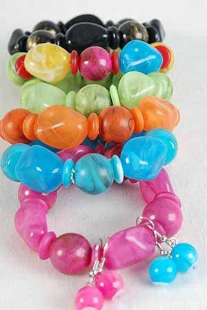Bracelet & Earring Sets Acrylic Marble Stretch,Color Asst/DZ 6 Color Asst,Stretch