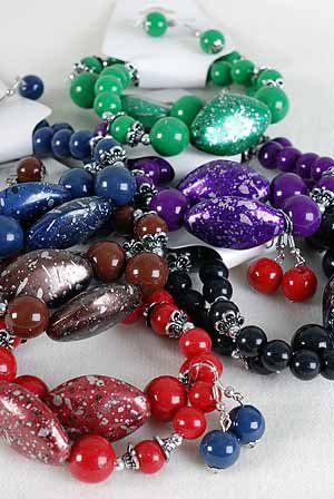 Bracelet & Earring Sets Acrylic Spray Paint W Beads/DZ 6 Color asst,Stretch