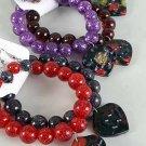 Bracelet & Earring Sets Glitter Ball W Poly Hearts/DZ/dz **NEW** Fall Selection,6 Color asst