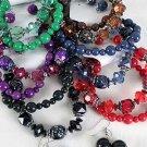 Bracelet & Earring Sets Large Block WLucite Crystals/DZ 6 Color Asst,Stretch