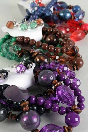 Bracelet & Earring Sets Large Lucite ball W Wooden Bead Mix/DZ **NEW** 6 Color Asst