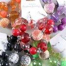 Bracelet & Earring Sets Large Lucite W Print Balls/ 6 Color Asst,Strtch