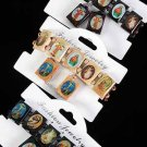 Bracelet & Earring Sets Religious Oblong/DZ **NEW** Natural Wood Color Asst,Stretch