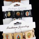 Bracelet & Earring Sets Religious Square/DZ **NEW** Natural Wood Color Asst,Stretch