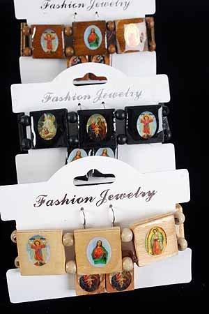 Bracelet & Earring Sets Religious Square/DZ **NEW** Natural Wood Color Asst,Stretch