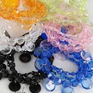 Bracelet & Earring Sets, Lucite W Ribbons,Stretch/D ** New Arrival** 6Color Asst