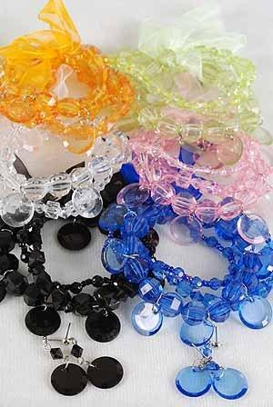 Bracelet & Earring Sets, Lucite W Ribbons,Stretch/D ** New Arrival** 6Color Asst