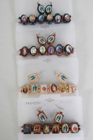 Bracelet & Earrings Religious,Stretch/DZ ** New Arrival** Nastural wood Colors,choose shape