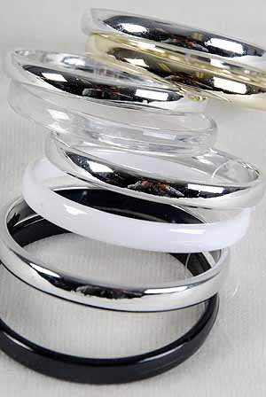 Bracelet 2pcs Bangles Metallic With Acrylic Mix/DZ Color Asst