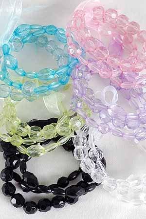 Bracelet 3pcs Lucite Crystals, Stretch/DZ ** New Arrival** 6Color Asst
