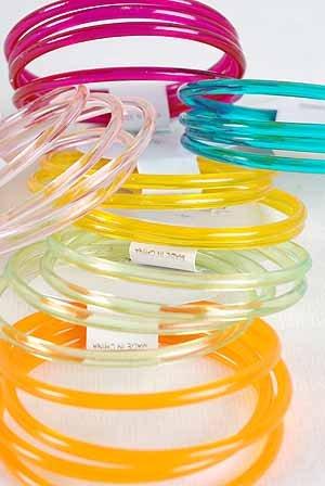 Bracelet 4pc Bangles Transparent Colors/DZ 7 Color Asst