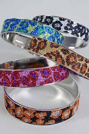 Bracelet Bangle 3'' Widw,Metallic Leopard Print/DZ **New Arrival** 6 Color Asst - Import Item 7/