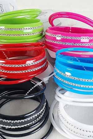 Bracelet Bangle 5pcs Acrylic Color Asst/DZ 8 Assorted color - KBR0260